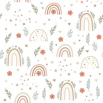 Children seamless pattern design  with rainbows and florals.