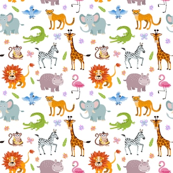 Children seamless wallpaper with cute and funny baby savanna animals