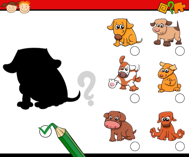 Children shadows task with dogs