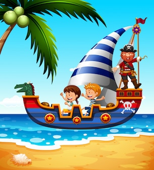Bambini sulla nave con pirata Vettore gratuito