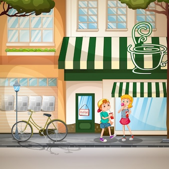 Children and shops
