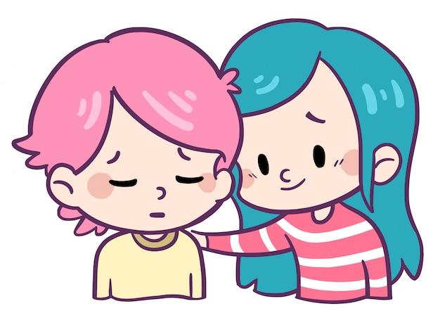 Children showing friendship