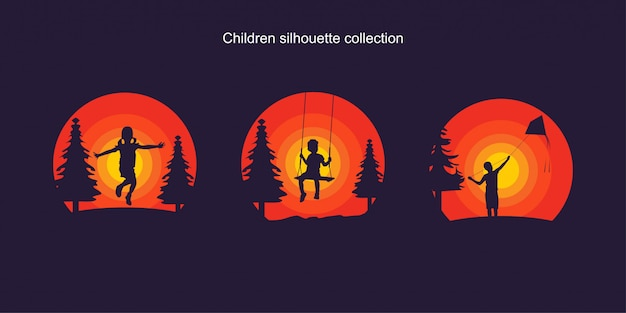 Children silhouette collection