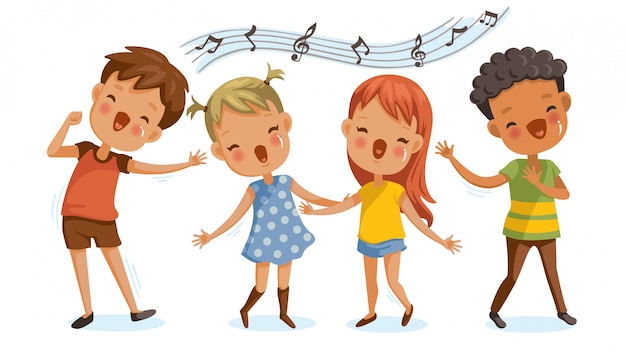 Children singing. boys and girls singing together happily