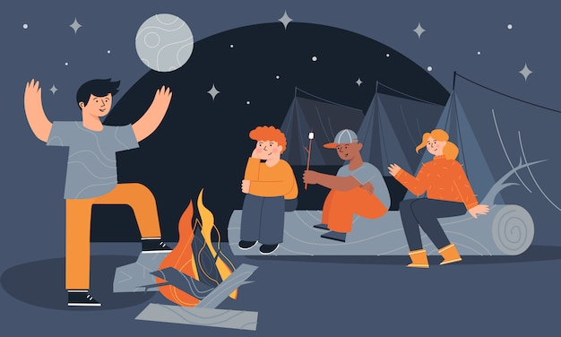 Children sitting near a campfire and tents eating marshmallow and telling scary stories at night.