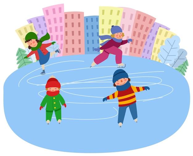 子供たちは街を背景に氷の上でスケートをします。ウィンタースポーツ。フラットスタイルのベクトルイラスト。