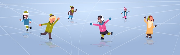 Children skating on ice rink winter sport activity recreation at holidays concept mix race girls and boys spending time together full length horizontal vector illustration