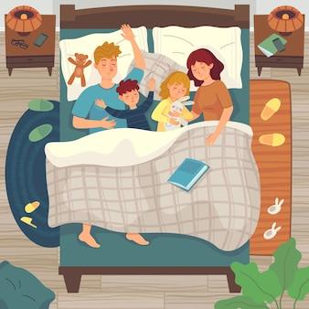 Children sleep in parents bed.