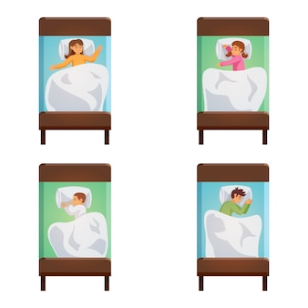 Children sleeping poses isolated set