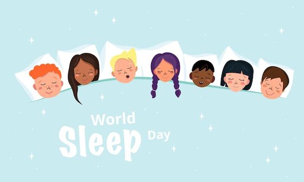 잠옷 파티 스타일의 어린이 잠자는 포스터. 세계 수면의 날을 위한 수평 밝은 배너. 다른 국적의 아이들이 베개에서 함께 잔다. 벡터 평면 그림
