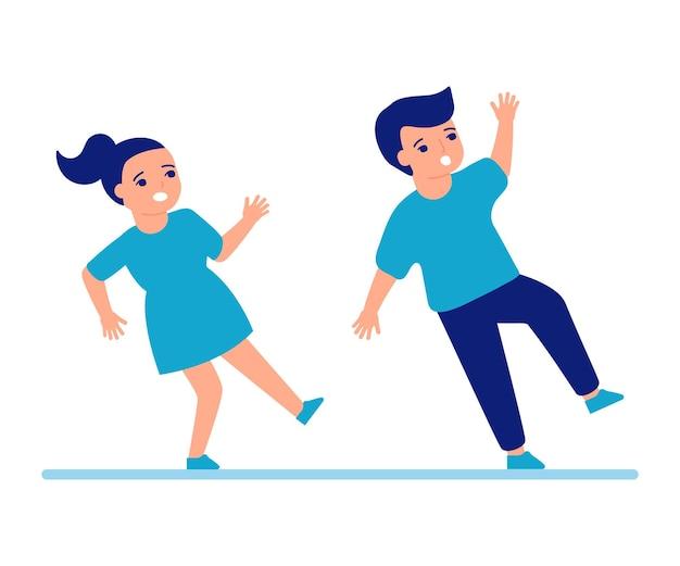 어린이가 미끄러져 바닥으로 넘어집니다. 어린이를 위한 미끄러운 바닥 소년과 소녀 추락