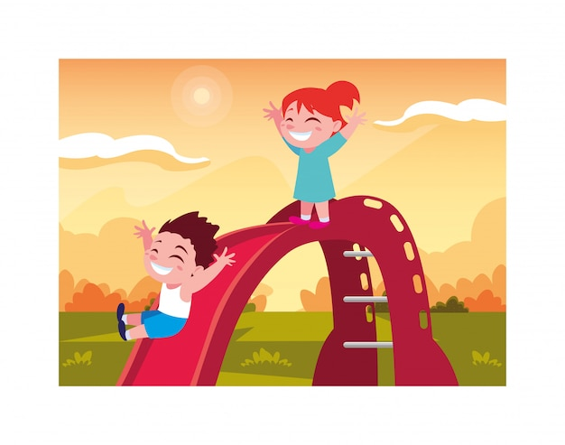 Children smiling and enjoying on slide