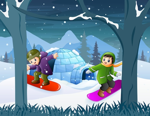 Children on snowboards in winter landscape