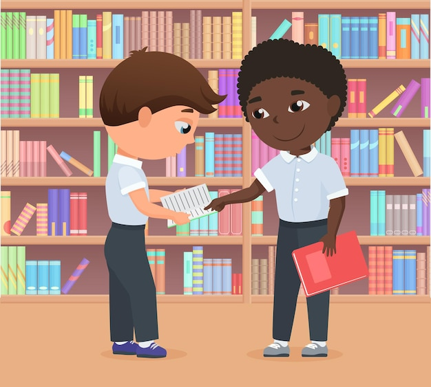 Children standing in library or bookstore together kids study learning difficulties