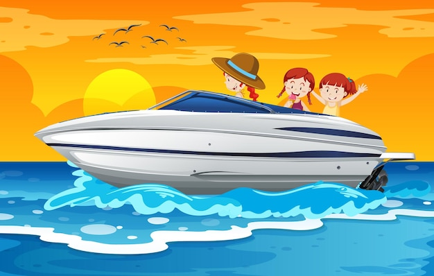 ビーチシーンでスピードボートに立っている子供たち