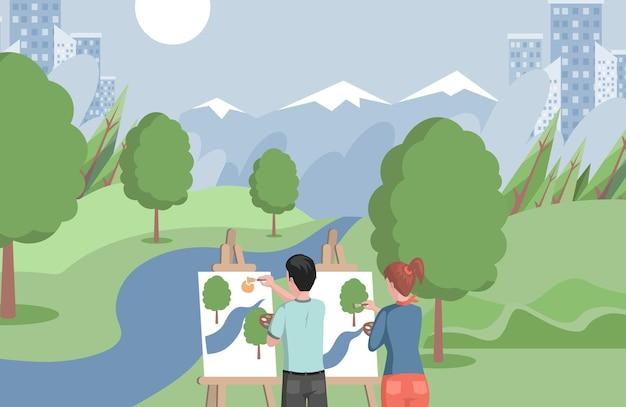 호수에 서서 풍경 그림을 그리는 아이들