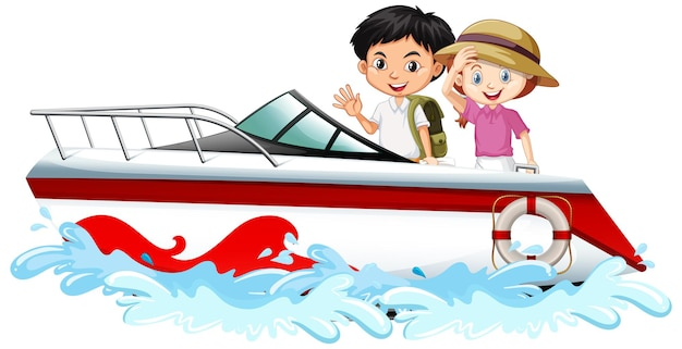 Children standing on a speed boat on white background