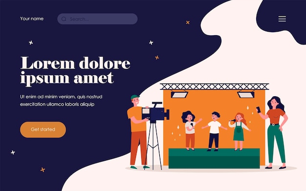 Children standing on stage and signing song on camera. mobile phone, video, scene flat vector illustration. entertainment and performance concept for banner, website design or landing web page