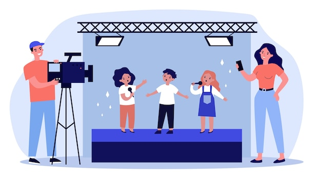 Children standing on stage and signing song on camera. mobile phone, video, scene   illustration. entertainment and performance concept for banner, website  or landing web page