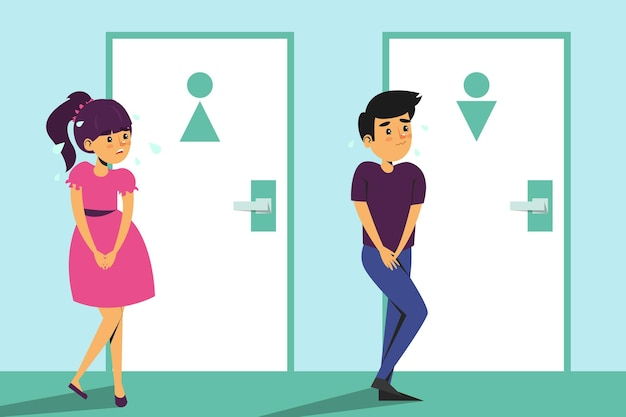 Children standing at the toilet door and want to pee.