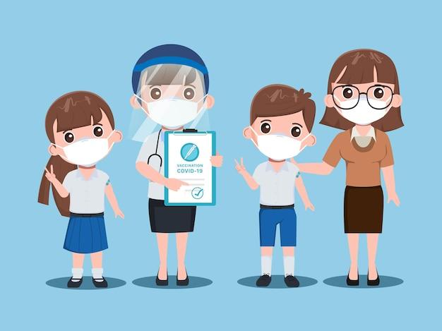 어린이 학생은 바이러스로부터 보호하기 위해 의사와 백신을 맞 춥니 다.