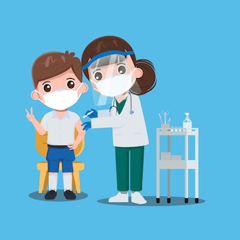 Дети-школьники получили вакцины с врачом для защиты от вирусов