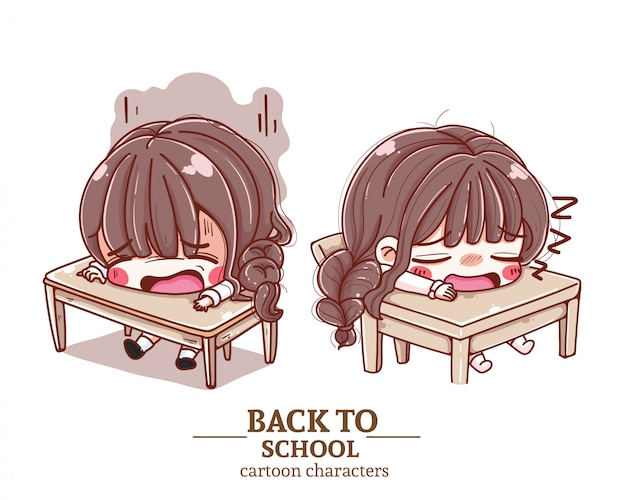 学生の学生服、クラスに座っている、疲れている、学校に戻るイラストのロゴ。