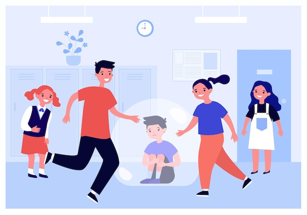Children students bullying sad boy at school. unhappy schoolboy sitting on floor flat vector illustration. violence, conflict between classmates concept for banner, website design or landing web page