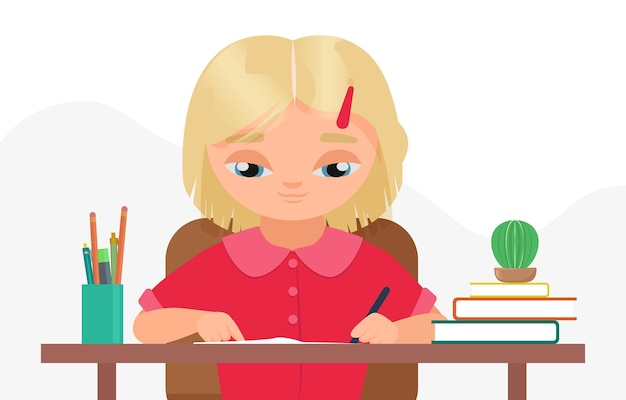 Children study education at home or classroom girl child student sitting at table