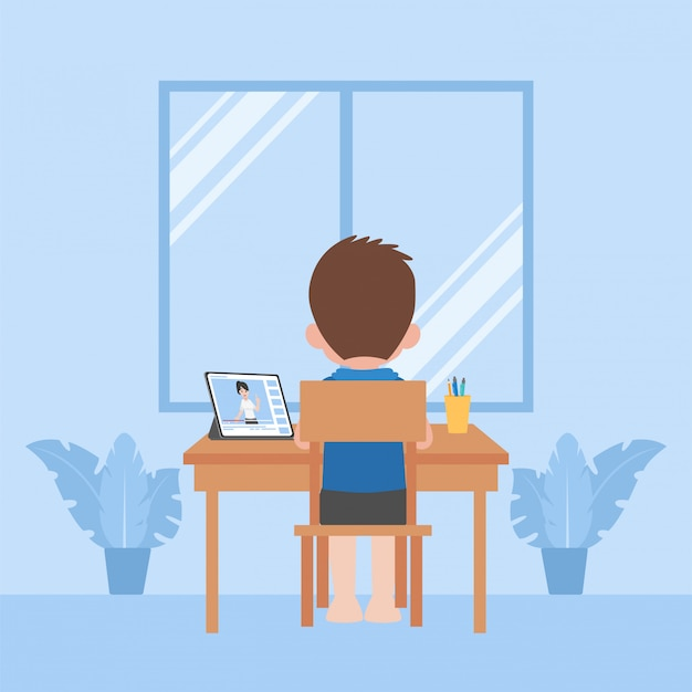 Children study education at home self learning, distance learning television concept.