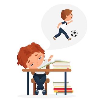 子供たちは教科書に座っている退屈な子供疲れた男の子の厳しい教育問題を研究します