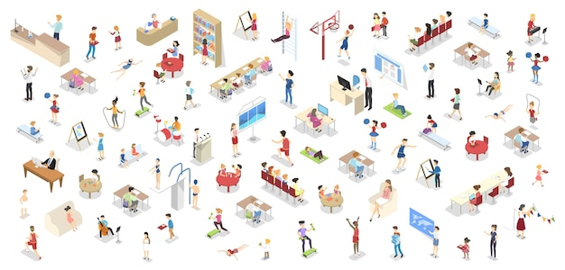 Children study in the school set. people in library, gym, lecture room and drawing class. children studying in classroom. isolated isometric vector illustration