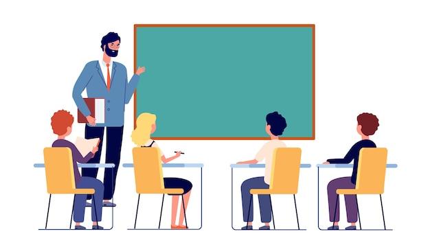 子供たちは先生と一緒に勉強します。学校のインクルージョン研究、子供たちは教室で話し合います。座って学習、教育ベクトルイラストの女の子の男の子。教室での授業での教師教育