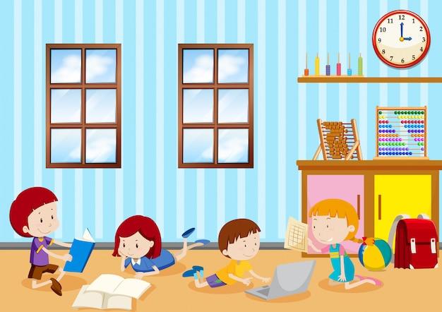 교실에서 공부하는 아이들
