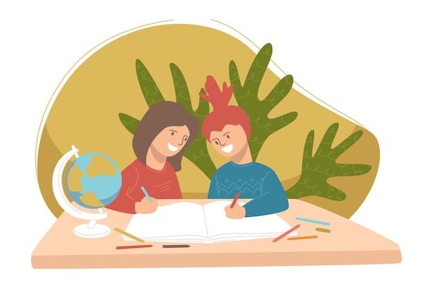 地理の授業でペアで勉強している子供たち