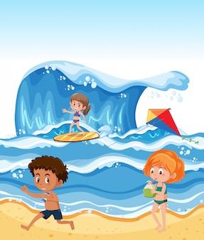 Children at the summer beach