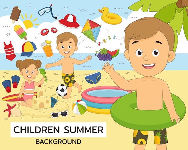 어린이 여름 개념 평면 아이콘