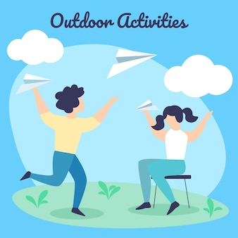 Children summertime outdoor activities. happy boy and girl throw paper airplanes on summer time