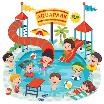 아쿠아 파크에서 수영하는 어린이