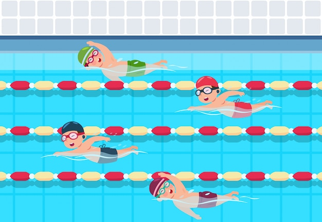 Children in swimming competition in pool
