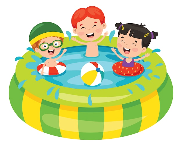 팽창 식 수영장에서 수영하는 아이들