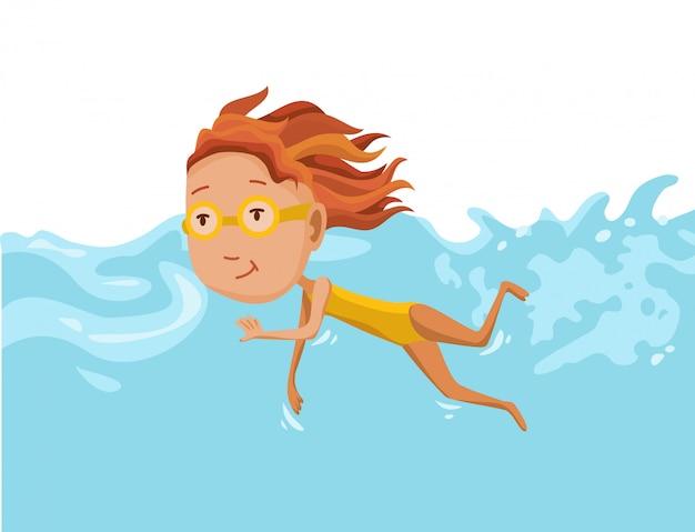Дети купаются в бассейне. веселая и активная маленькая девочка плавает в бассейне.