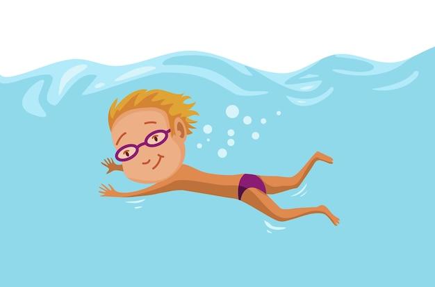 수영장에서 수영하는 아이들.