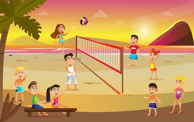 Children in swimsuits play volleyball on beach.