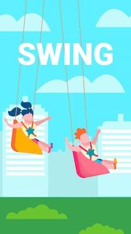 Children on swing outdoors recreation