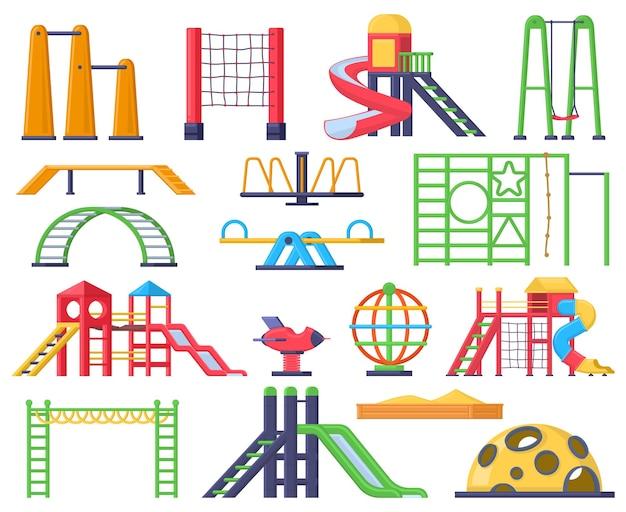 Детские качели, лестницы, открытая игровая площадка с горками. детский парк отдыха карусель и песочница векторные иллюстрации набор. элементы детской площадки