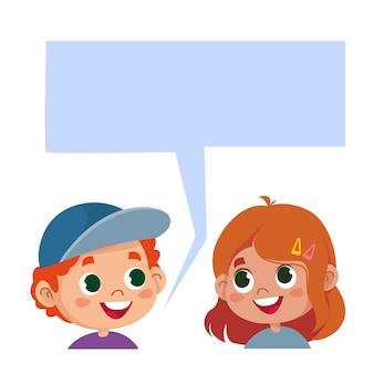 어린이 이야기 어린이 머리와 텍스트에 대한 구름 만화 캐릭터 소년과 소녀