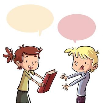 Children talking giving a book