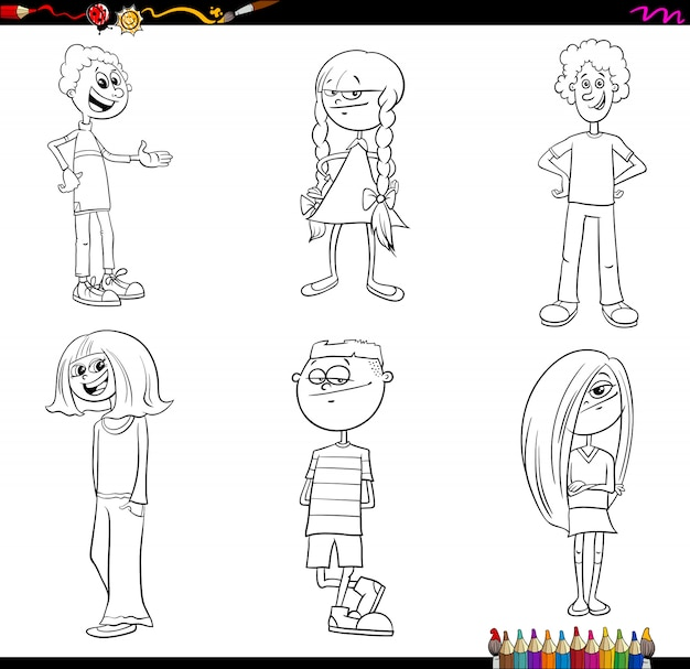 Children or teenager characters set color book