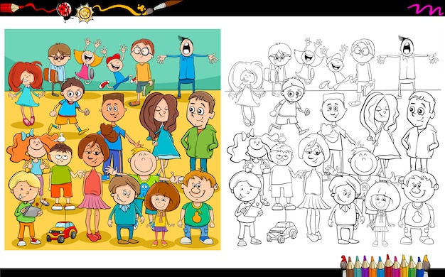 Children and teens characters color book